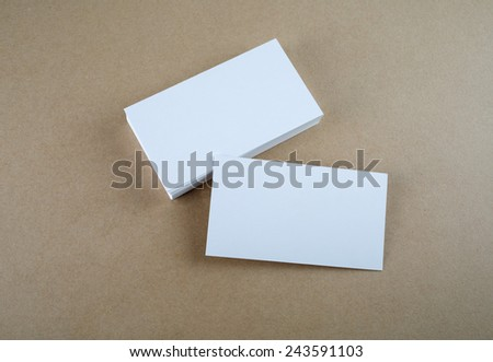 Blank business cards. Template for branding identity. Top view. - stock photo