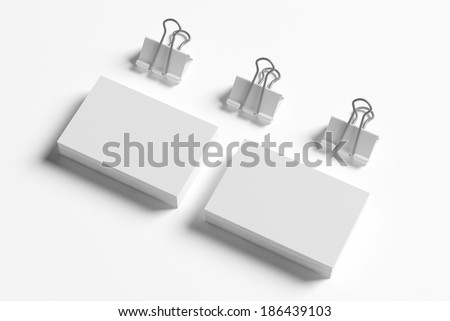 Blank business cards with soft shadows   - stock photo