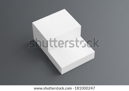 Blank business cards with soft shadows  isolated on grey to replace your drsign - stock photo