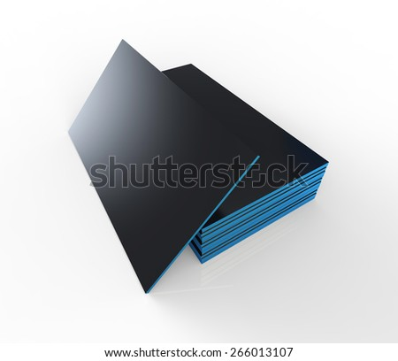 Blank business identity card. Black cards with blue edges. - stock photo