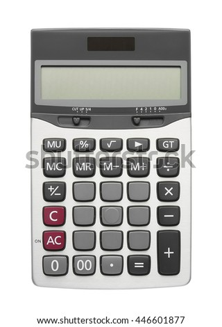blank button on calculator for your text, isolated included clipping path - stock photo