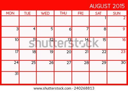 Blank Calendar of August, 2015  - stock photo