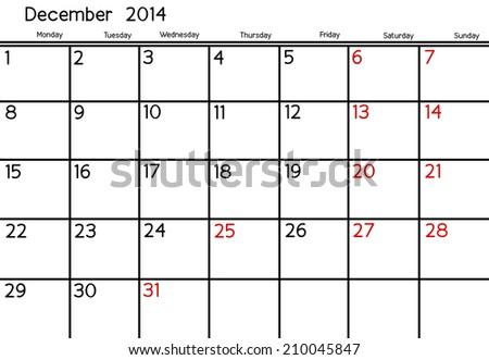 Blank Calendar of December, 2014  - stock photo