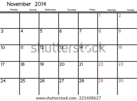 Blank Calendar of November, 2014  - stock photo