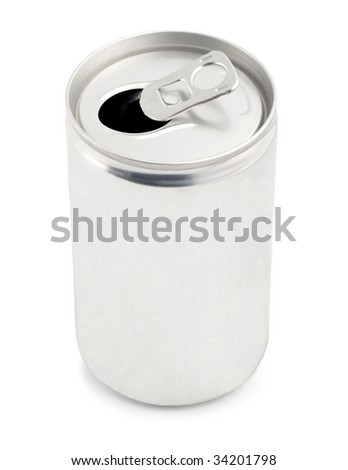 blank can for cola, drink, fizz, juice, soda, tonic,beer - stock photo