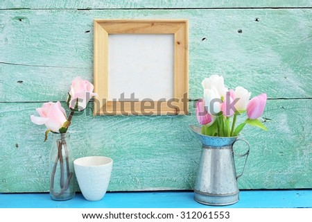 blank canvas frame hang on paint wood in room. - stock photo