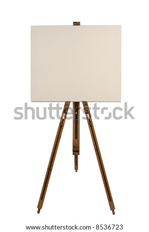 Blank canvas on an easel isolated on white - stock photo