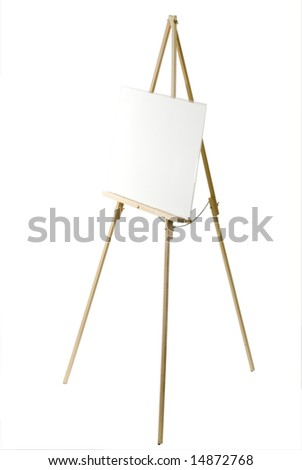 Blank canvas on an easel isolated on white with a clipping path. - stock photo