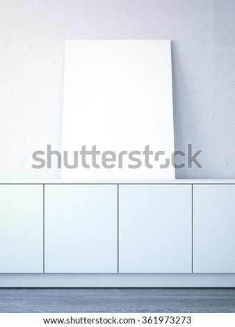 Blank canvas on the chest in bright interior. 3d rendering - stock photo