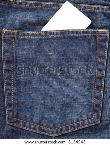 Blank card in jeans pocket on which you can write something - stock photo