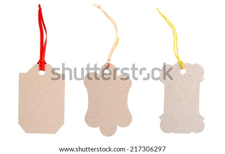 Blank card tags isolated white - stock photo