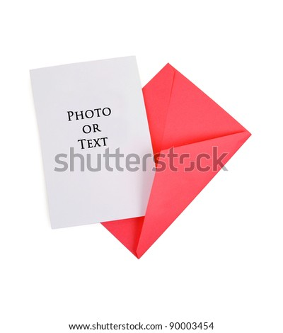 Blank Card with Red Envelope - stock photo