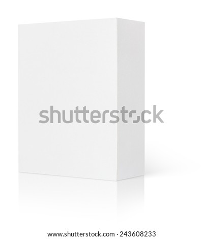 Blank cardboard box isolated on white background with clipping path - stock photo