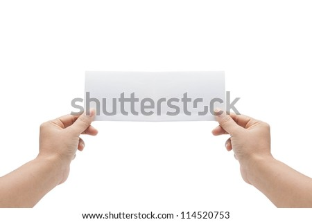 blank cards in a hand isolated on white background - stock photo