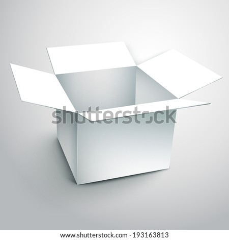 blank carton with soft shadow isolated on white background - stock photo