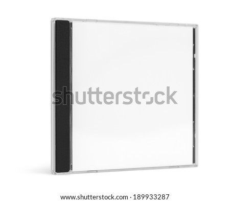Blank CD Case Facing Forward Standing up Isolated on White Background. - stock photo