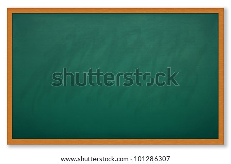 Blank chalk board and wood frame for write and teach - stock photo