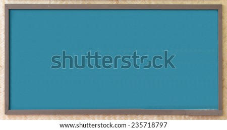 Blank chalkboard, Blackboard texture with copy space on the bamboo handicraft wall. - stock photo
