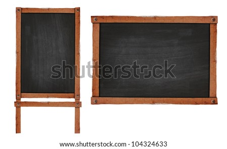 Blank chalkboard in wooden frame isolated on white background (Save Paths For design work) - stock photo