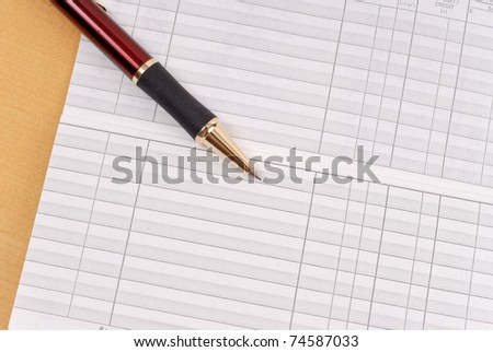 Blank Check Book Balance Sheet - stock photo