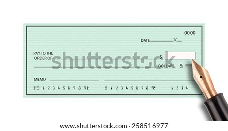 Blank check with pen signing - stock photo