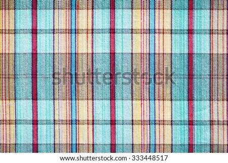 Blank checkered fabric texture, fabric plaid background - stock photo