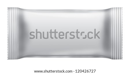 Blank chocolate bar package isolated on white background white 3D - stock photo
