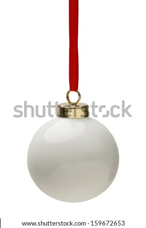 Blank Christmas Bulb with Copy Space Isolated On White Background. - stock photo