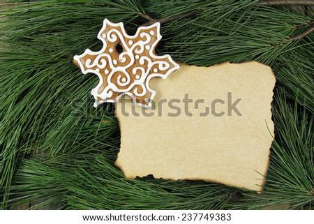 blank christmas card on fir tree with homemade gingerbread  - stock photo