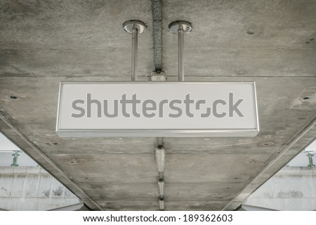 Blank cieling sign, direction sign - stock photo