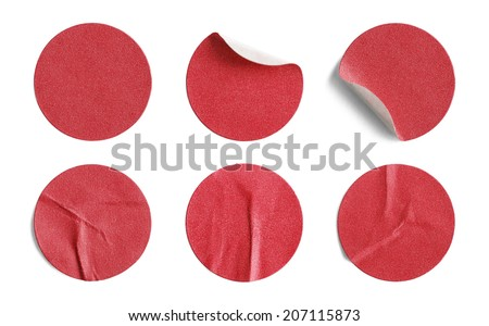 Blank Circle Retail Tags Isolated on a White Background. - stock photo