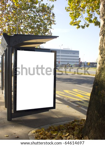 blank city light on the bus station, place for your ad - stock photo