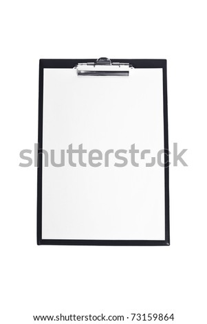 Blank clipboard isolated on white - stock photo