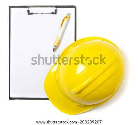 Blank clipboard paper and hard hat isolated on white background - stock photo