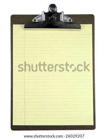 Blank clipboard with yellow note paper isolated on white. - stock photo