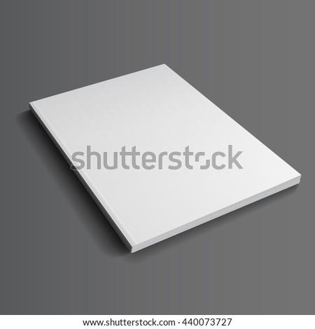 Blank closed magazine mockup template. Realistic illustration. Raster copy of vector file. - stock photo