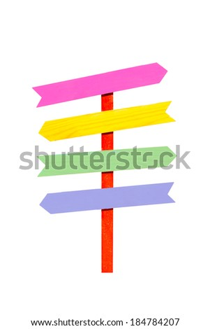 Blank color arrow road sign - stock photo
