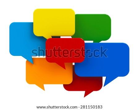 Blank color speech bubble icons isolated on white background - represents internet messaging concept, three-dimensional rendering - stock photo