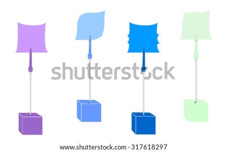 blank colorful paper clamp by cube alligator wire - stock photo
