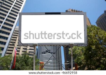 Blank commercial billboard city and building on background - stock photo