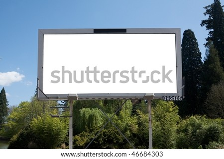 Blank commercial billboard garden spring on background - stock photo