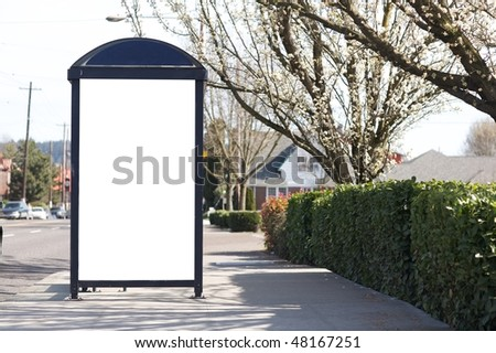 Blank commercial outdoor sign on bus station - stock photo