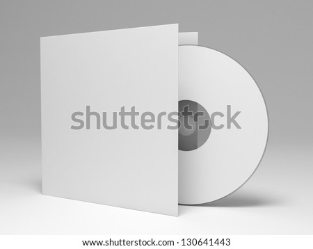 Blank compact disk with cover - stock photo