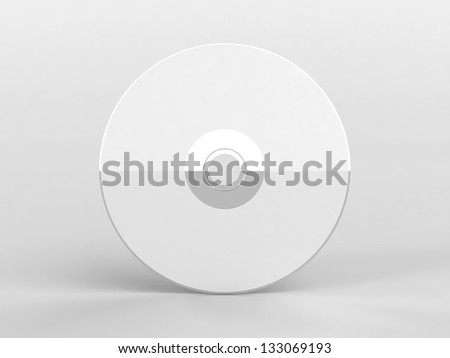 Blank compact disk with reflection on white background (3d render) - stock photo