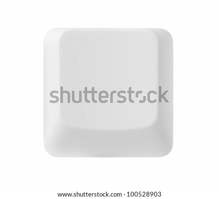 Blank computer key isolated on white background with copy space, clipping path included - stock photo