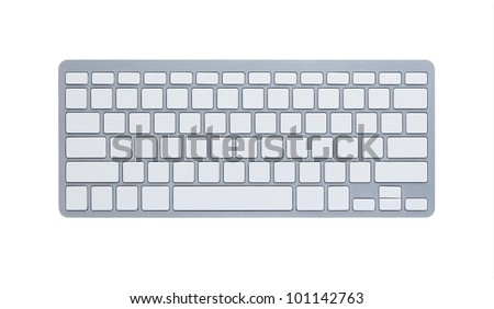 Blank computer keyboard isolated on white background with clipping path - stock photo