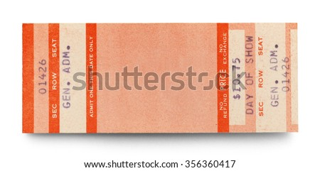 Blank Concert Ticket With Copy Space Isolated on a White Background. - stock photo