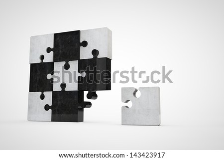 blank concrete jigsaw puzzle - stock photo