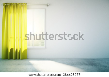 Blank concrete wall in white loft design room with yellow curtain, window and concrete floor. Mock up, 3D Render - stock photo