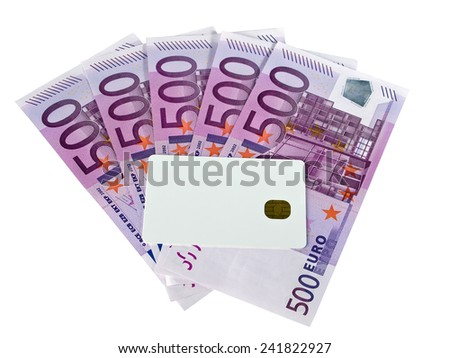 Blank credit card and euro bank notes isolated on white background, payment card service concept - stock photo